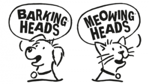 Logo barking meowing heads