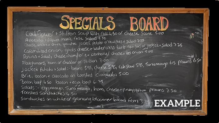 example specials board